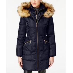 Vince Camuto Faux Fur Trim Hooded Puffer Coat L